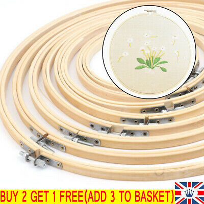 DIY Needlecraft Cross Stitch Machine Bamboo Frame Embroidery Hoop Ring 10 Sizes • 3.81£