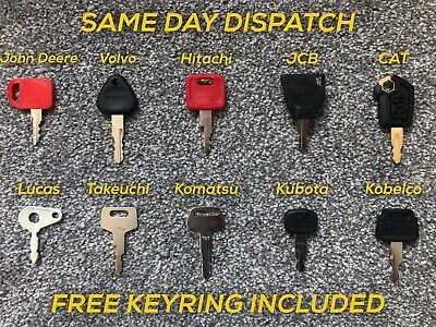 10 KEY Master Plant Set For Excavator - Digger - Farm Machinery FREE KEYRING INC • 18.95£