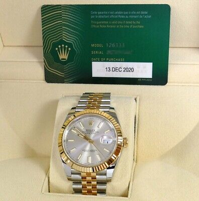 $ CDN17300.47 • Buy Dec 2020 New Rolex Datejust 41 126333 Silver Jubilee Two Tone Gold Box Papers
