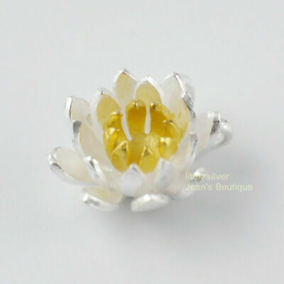 $ CDN21.45 • Buy S925 Sterling Silver Golden Lotus Flower Charm Necklace Pendant A2167+chain A