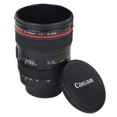 Camera Lens Coffee / Tea Mug Cup Stainless Steel Thermos & Screw On Lid • 5.59£