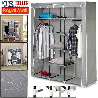 Triple Large Canvas Material Wardrobe Storage Fabric Portable Dust Proof Cover • 23.89£
