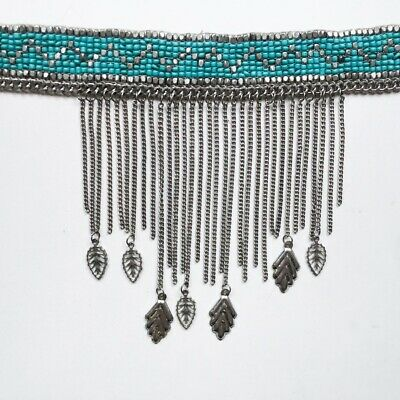 £7 • Buy Topshop Freedom Choker Silver And Blue Indie / Festival Necklace