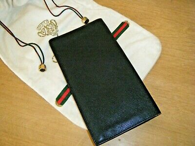 $99 • Buy Vintage Gucci Black Textured Leather Long Wallet Organizer With Gucci Dust Bag