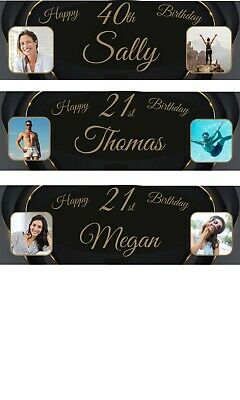 Personalised Birthday Banner Multiple Photos Gold Party Wedding Poster X2 • 5.75£