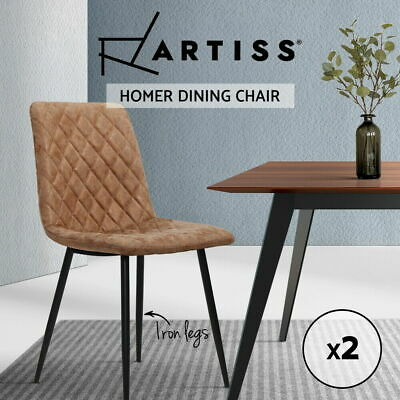 AU91.90 • Buy Artiss Dining Chairs Replica Kitchen Chair Leather Padded Retro Iron Legs X2