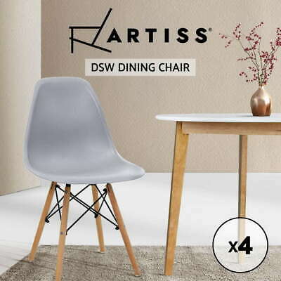 AU92.90 • Buy 4x Artiss Retro Replica Dining Chairs Chair Kitchen Cafe Wood Leg Wooden Grey