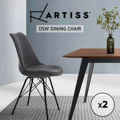 AU70.90 • Buy 2x Artiss Dining Chairs Cafe Kitchen Velvet Fabric Padded Iron Legs Chair Grey