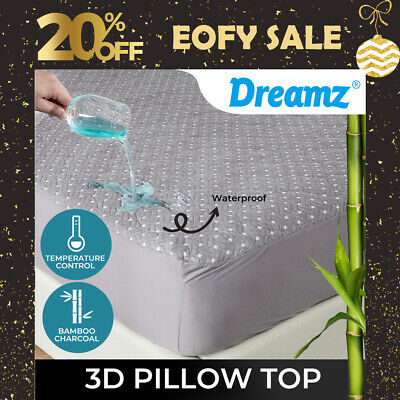 AU52.99 • Buy Dreamz 3D Pillowtop Mattress Protector Topper Bamboo Charcoal Waterproof Cover