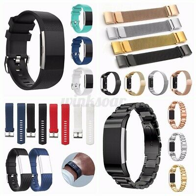 AU11.51 • Buy For Fitbit Charge 2 Bands Sport Replacement Silicone/Metal Wristband Watch Strap