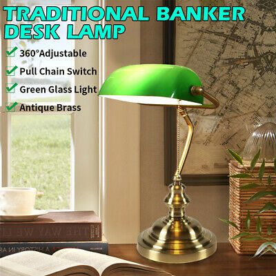 AU68 • Buy Antique Brass Traditional Banker Desk Lamp Pull Chain Switch Green Glass Light