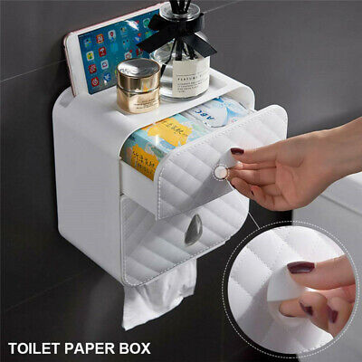£13.15 • Buy Wall Mounted Toilet Paper Roll Holder Tissue Drawer Bathroom Storage Box UK