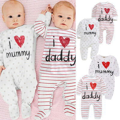 Baby Girl Boy I Love Mummy Daddy Jumpsuit Bodysuit Romper Clothes Outfits Set • 7.98£