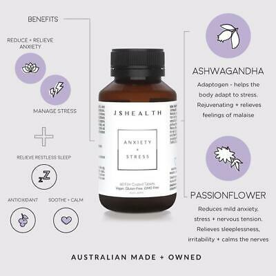 AU49.95 • Buy JSHealth Anxiety + Stress 60 Tablets - Free Delivery From Sydney! JS Health.