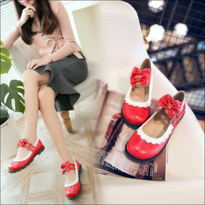Womens Sweet Mary Jane Lolita Bowknot Buckle Strap Chunky Low Heels Shoes Ting1 • 33.75£