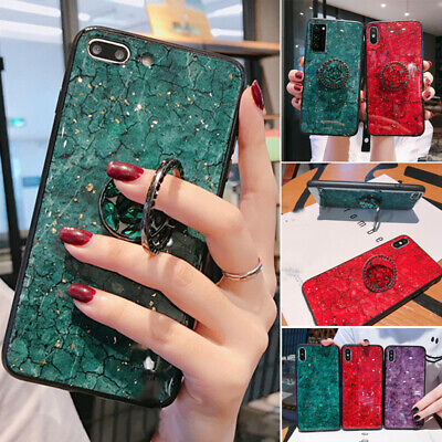 Luxury Marble Phone Case & Ring Holder For IPhone 12 12Pro Mini 8Plus XR • 6.99£
