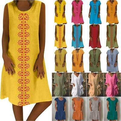 AU20.32 • Buy Plus Size Women Boho Loose Midi Tunics Dress Summer Beach Casual Kaftan Sundress