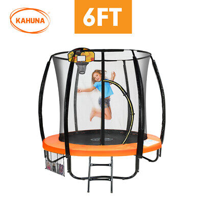 AU568.90 • Buy Kahuna Trampoline 6ft W/ Basketball Set Orange Enclosure Safety Net Trampolines