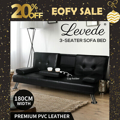 AU379.99 • Buy Adjustable Sofa Bed Lounge Futon Couch Leather Beds 3 Seater Cup Holder Recliner