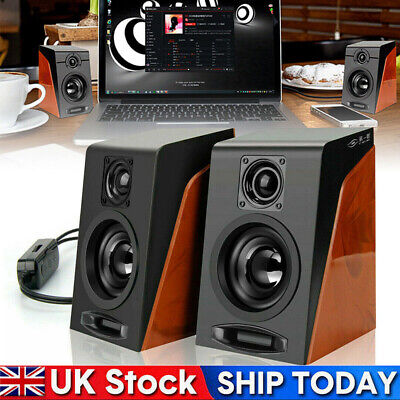 1Pair USB Speakers Wired Computer Stereo Bass Audio System For PC Laptop UK Hot • 11.83£
