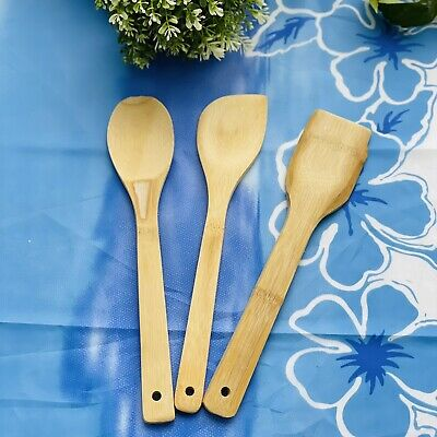 AU6.99 • Buy 3pc/Set Bamboo Utensils Kitchen Wooden Cooking Tools Spoon Spatula Mixing Fork