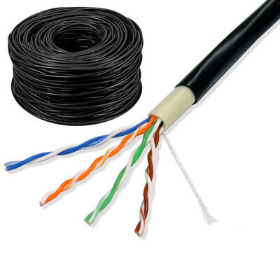 £13.46 • Buy External Cat 6 Outdoor Network Cable UTP 4Pair 23AWG Ethernet LAN Lead Black Lot