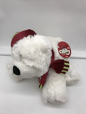 TESCO CHILLY & FRIENDS POGO POLAR BEAR SOFT TOY 2005 05 White Plush Hat Scarf BN • 19.99£