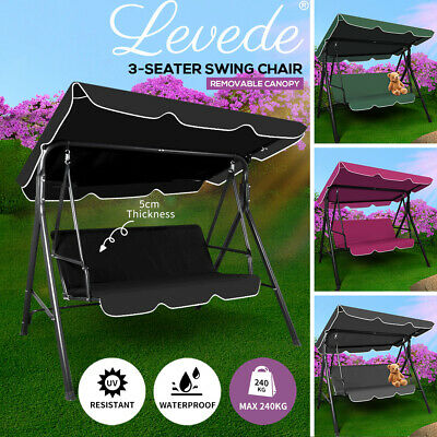 AU131.99 • Buy Levede Swing Chair Hammock Outdoor Furniture Garden Canopy 3 Seater Cushion Seat