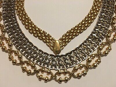 $ CDN18.80 • Buy 3 Flat Wide Chain Necklaces Chokers Lot Avon Gold Tone Silver Tone