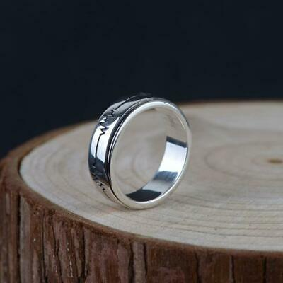 925 Sterling Silver Simple Heartbeat Spinning Ring Women Men Jewelry A3041 • 14.98£