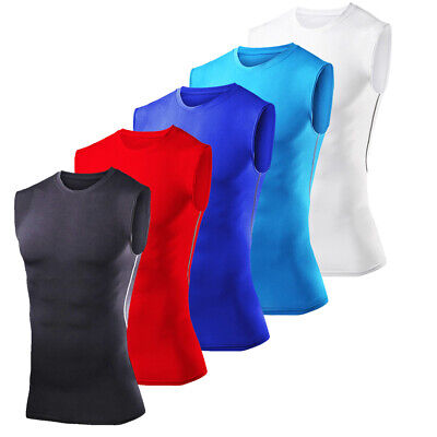 Mens Compression Armour Thermal Base Layer Vest Gym Top Sports Sleeveless Shirt • 7.99£