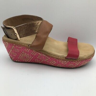 £21.78 • Buy Vionic Orthaheel Womens Cancun Wedge Sandals Brown Pink Buckle Leather 9