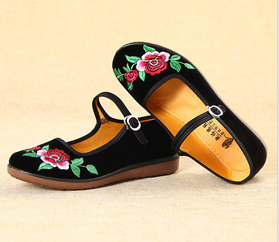 £8.99 • Buy Retro Women's Chinese Floral Mary Jane Flats Work Buckle Strap Shoes Casual UK