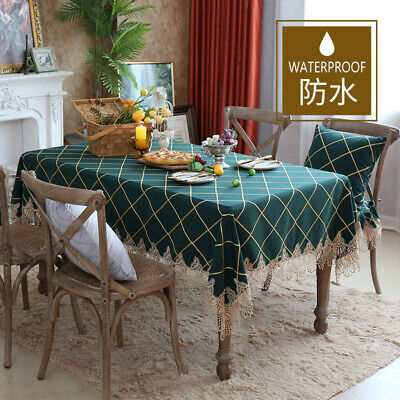 AU40.04 • Buy Plaid Lace Table Cloth Rectangle Dining Coffee Tea Table Cover For Party Kitchen