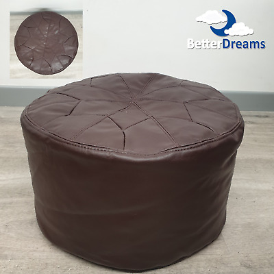 Moroccan Beanbag - Footstool - Pouffe- Faux Leather - Brown • 33.99£
