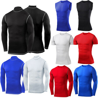 Mens Compression Armour Base Layer Top Long Sleeve Gym Sports Thermal Shirts • 7.99£