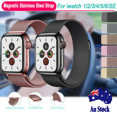 AU14.99 • Buy For Apple Watch Wrist Band Series 6 5 4 3 2 1 SE Magnetic Stainless Steel Strap