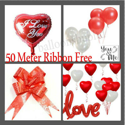 $2.67 • Buy 100 PACK RED/WHITE HEART SHAPE LOVE BALLONS Wedding Party Valentines Birthday