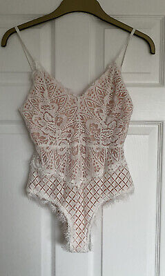 Topshop Concession White Nude Lace Bodysuit S Small 8 10 BNWT • 15£
