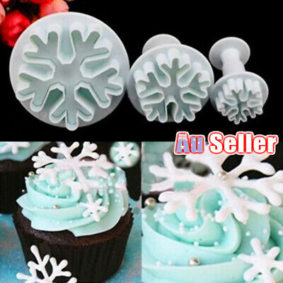 AU8.89 • Buy 3pcs Cutter Plunger Mold Sugarcraft Cake Decorating Fondant Snowflake Mould