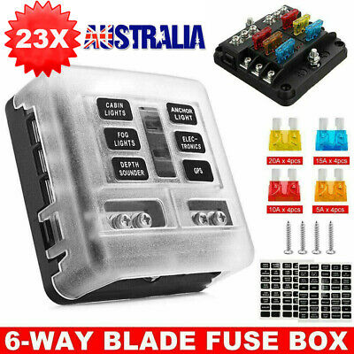AU21.89 • Buy 6 Way Blade Fuse Block Box Holder LED Light 12V 32V Circuit Caravan Marine Car