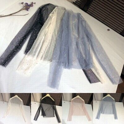 AU11.80 • Buy Women Sequin Mesh Blouse Top Sheer Tulle See Through Shiny Lolita Dance Sexy
