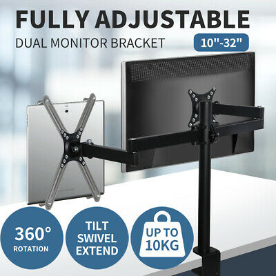 AU39.99 • Buy Dual LED Monitor Bracket 2 Arm Display Stand LCD Screen TV Desk Mount Holder