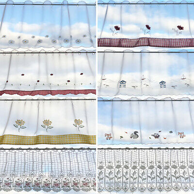 £9.99 • Buy Budget Embroidered Ready Made Voile Panel Cafe Curtain- Free Postage