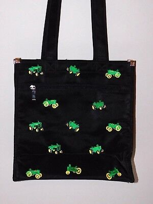 AU19.21 • Buy Women's Black Zippered Purse Tote Bag With Embroidered Green Farm Tractors