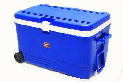60l Coolbox Blue Cooler Box With Wheels Picnic Ice Food Insulated Travel • 59.97£