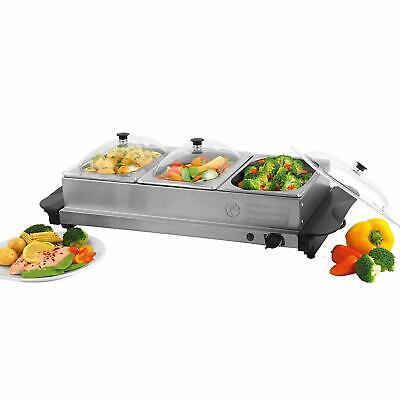 £38.99 • Buy Stainless Steel 3 Pan Large Buffet Food Server Hot Plate Warmer Tray 4.5 L