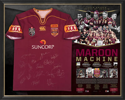 AU795 • Buy 2016 Qld State Of Origin Signed Winning Series Jersey Maroon Machine Framed