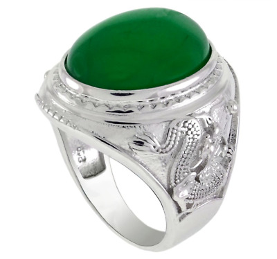 £42.59 • Buy Rhodium Sterling Silver Oval Green Jade And Dragon Men Ring MR-1033