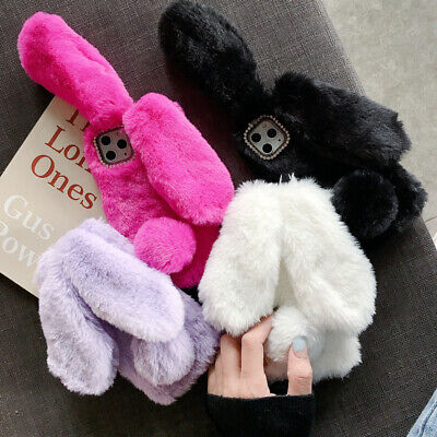 Bunny Rabbit Faux Fur Plush Fluffy Warm Phone Case Cover For IPhone 12 Pro 11 XR • 3.99£